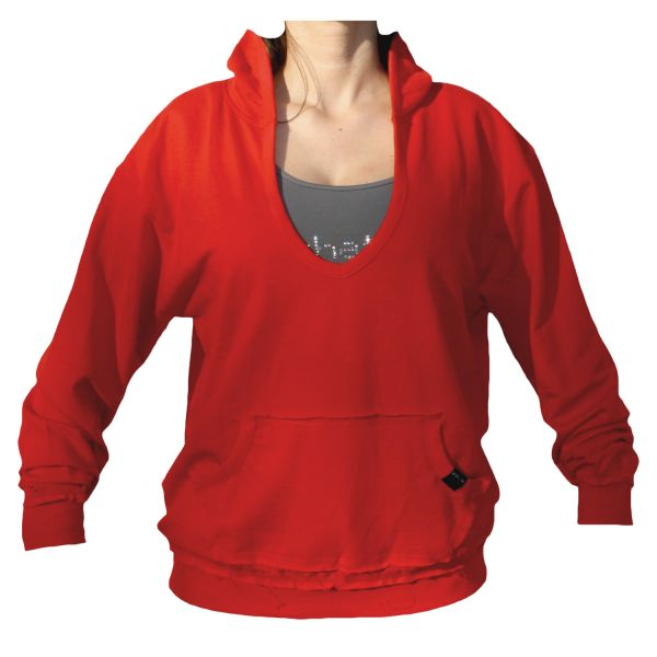 Kapuzensweatshirt mit weitem V-Ausschnitt Unisex